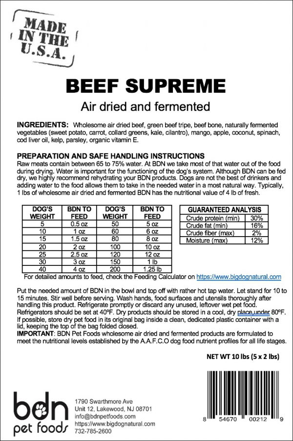 Beef Supreme Ingredients