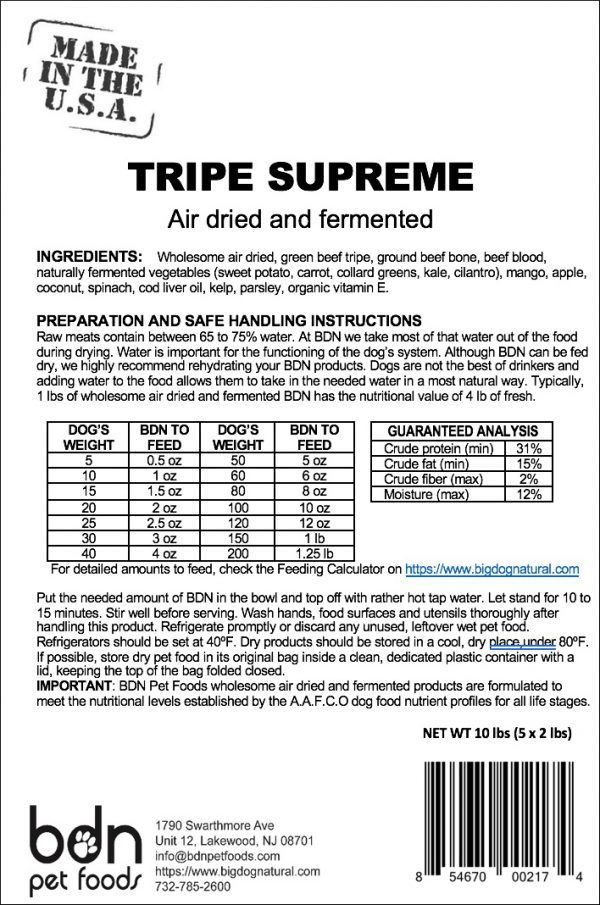 Tripe Supreme Ingredients